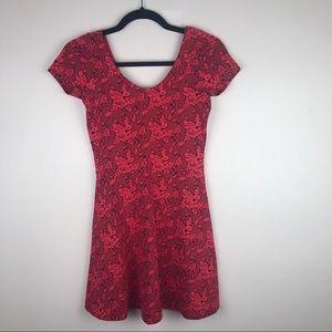 Topshop | Printed Red Mini Dress